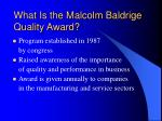 what is the malcolm baldrige quality award