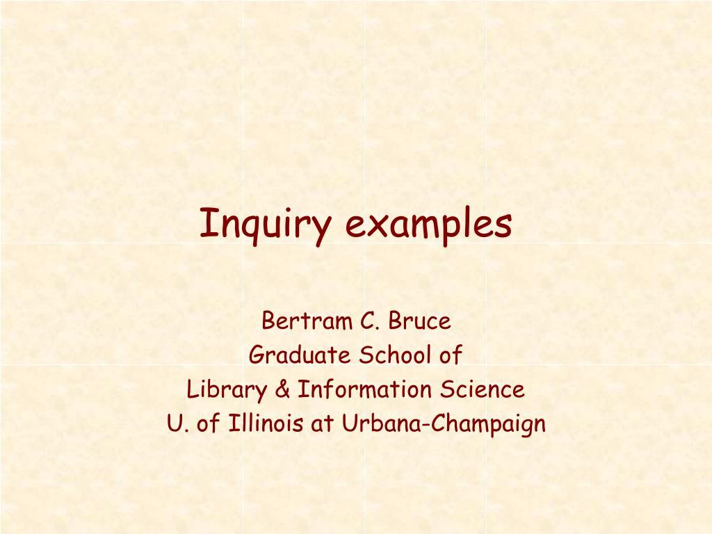 inquiry examples l.