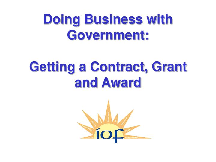 doing business with government getting a contract grant and award n.