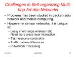 challenges in self organizing multi hop ad doc networks