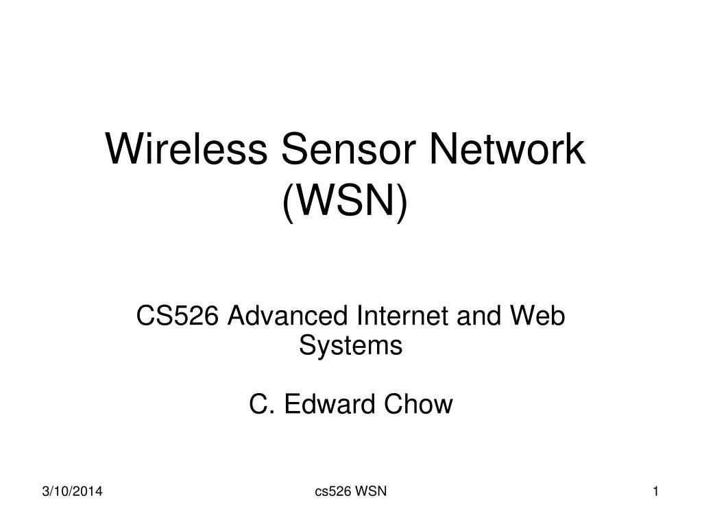 wireless sensor network wsn l.