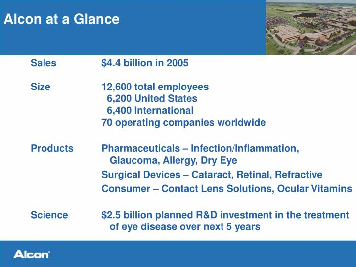 Alcon at a glance