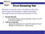 blood screening test
