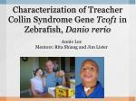 characterization of treacher collin syndrome gene tcof1 in zebrafish danio rerio