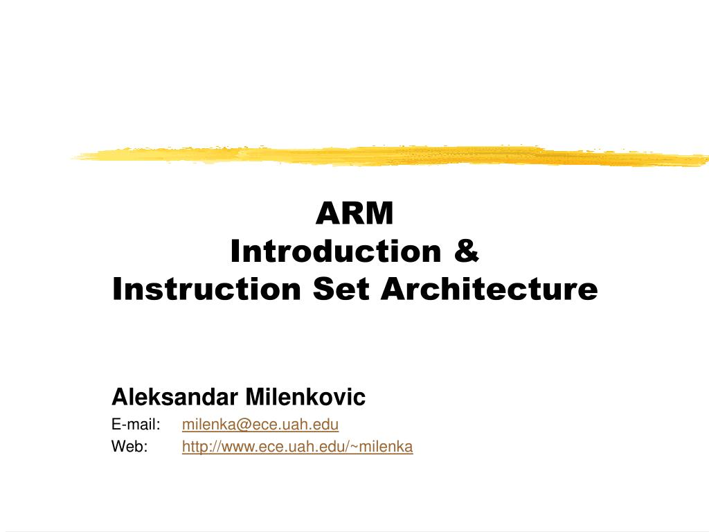 arm introduction instruction set architecture l.
