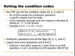setting the condition codes