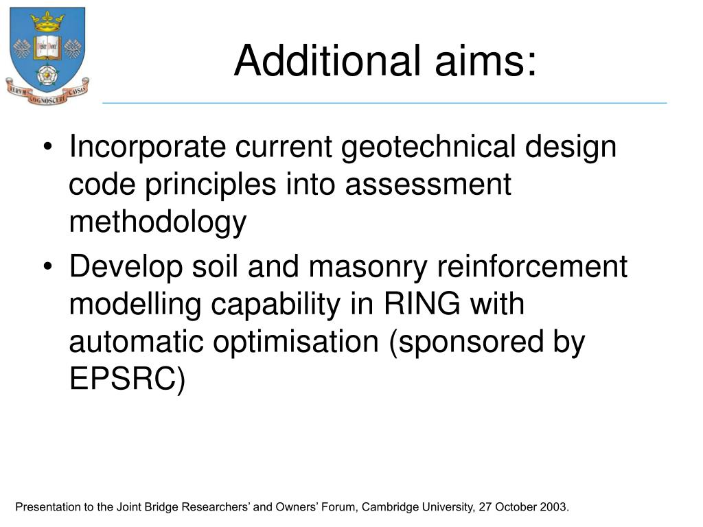 Additional aims: