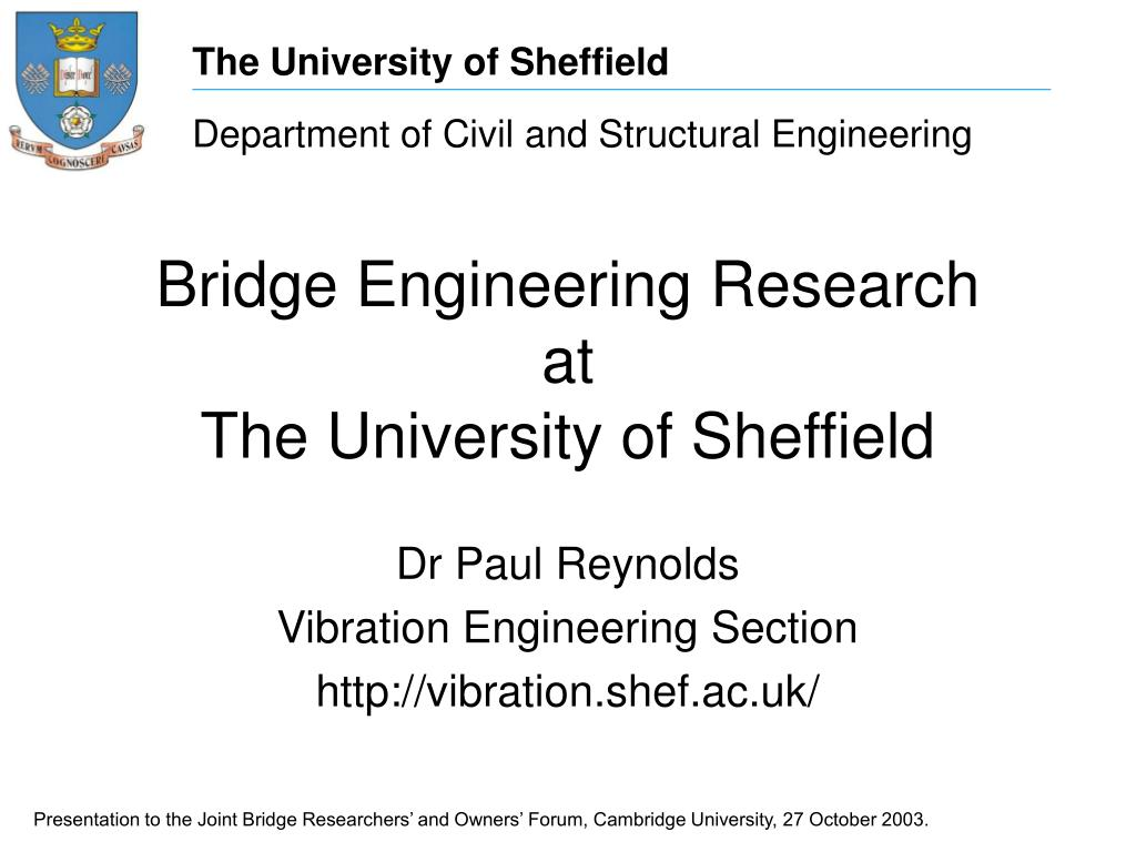 bridge engineering research at the university of sheffield l.