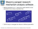masonry parapet research mechanism analysis software