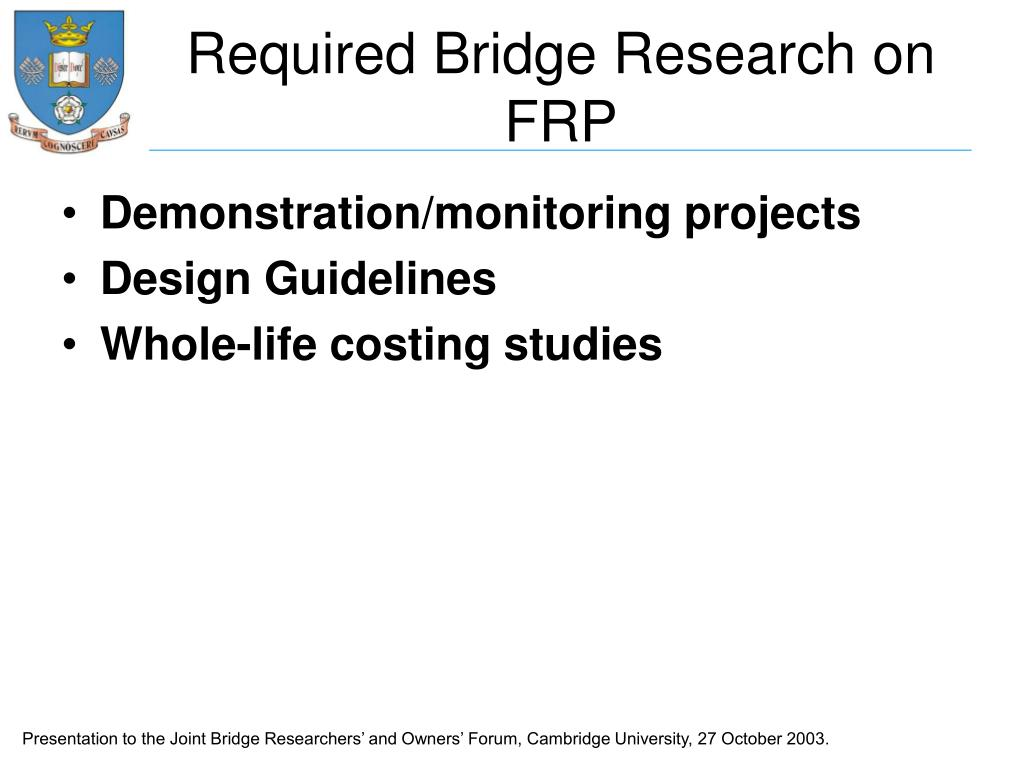 Required Bridge Research on FRP