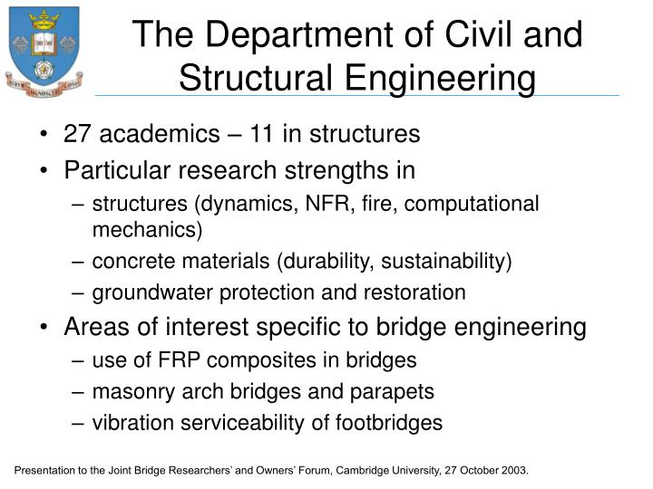 The department of civil and structural engineering