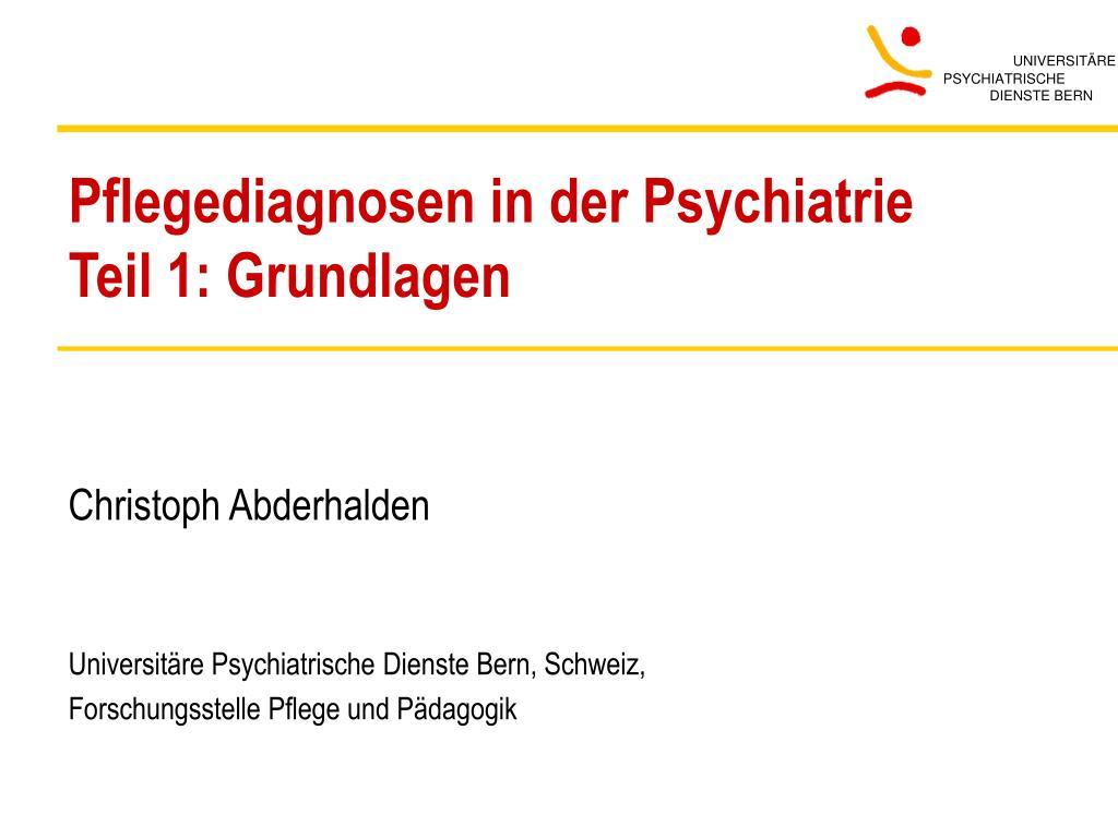 pflegediagnosen in der psychiatrie teil 1 grundlagen l.