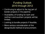 funding outlook 2010 through 2012