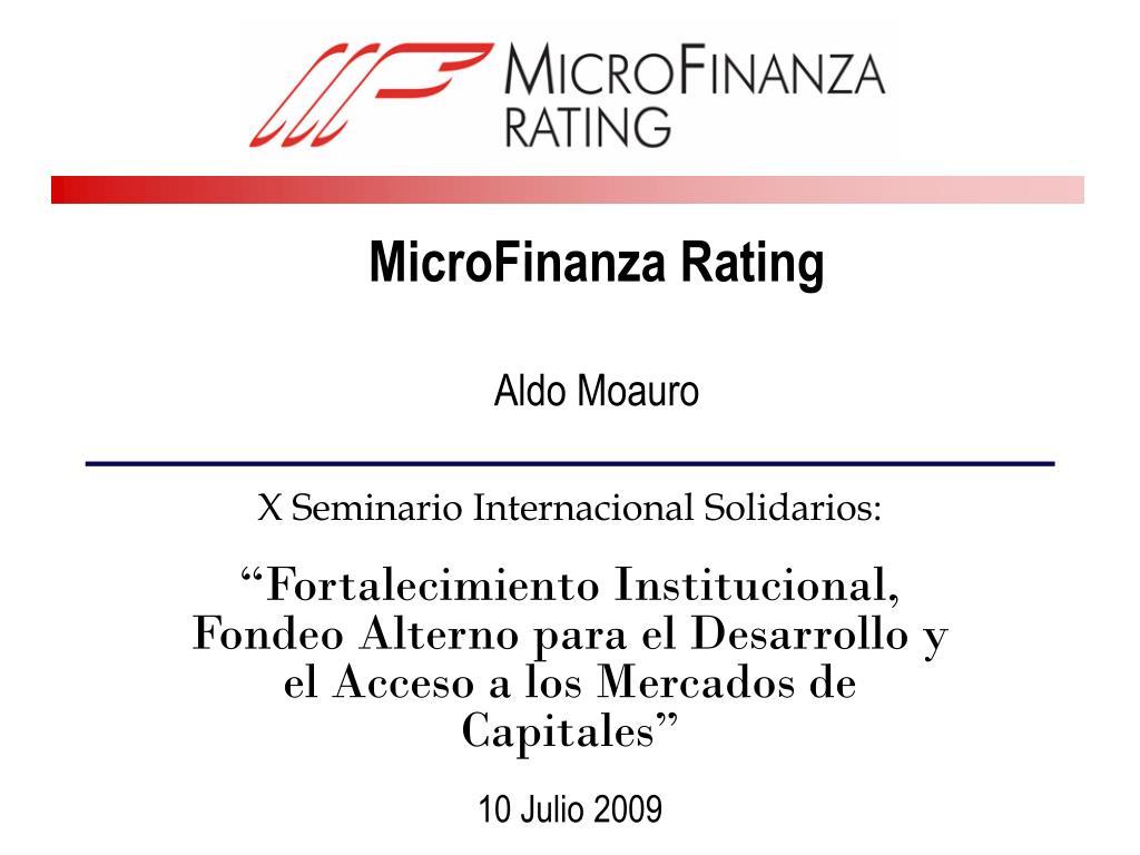 microfinanza rating aldo moauro l.