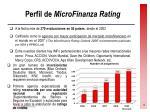 perfil de microfinanza rating