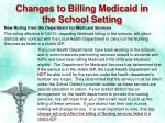 changes to billing medicaid in the school setting
