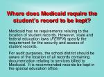 where does medicaid require the student s record to be kept