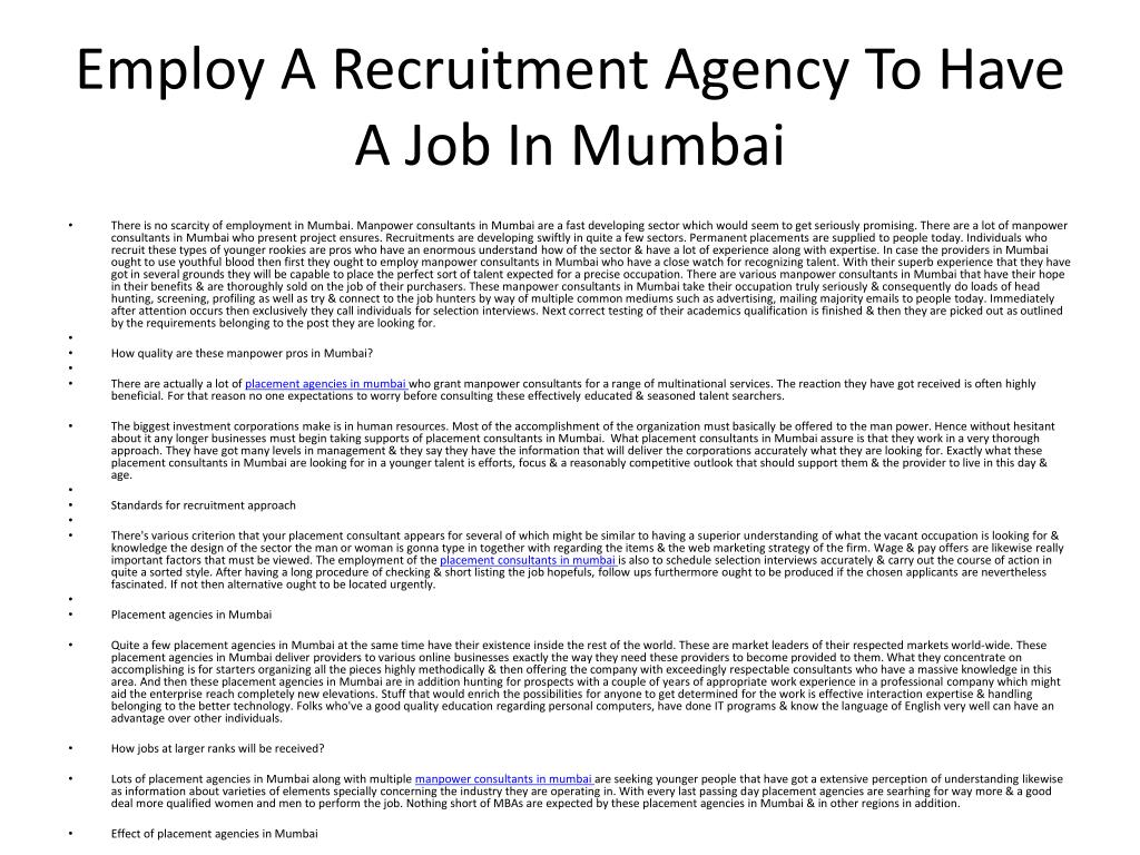 employ a recruitment agency to have a job in mumbai l.