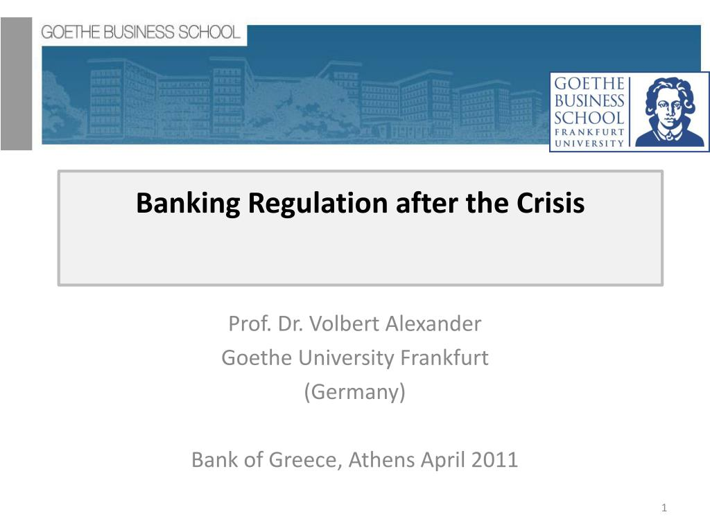 banking regulation after the crisis l.