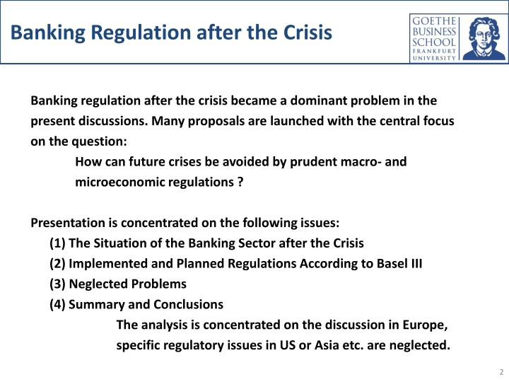 bank regulation essay Contents 1 introduction 1 2 the bubble economy 3 preconditions 3 collapse of the bubble 6 3 existing banking regulations 10 the basle capital accord 10 loan classification and loan-loss provisioning 10.
