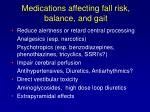 medications affecting fall risk balance and gait