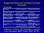 suggested clinical use of balance and gait measures