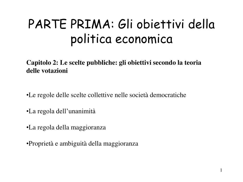 parte prima gli obiettivi della politica economica l.