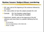 syntax issues subject noun reordering