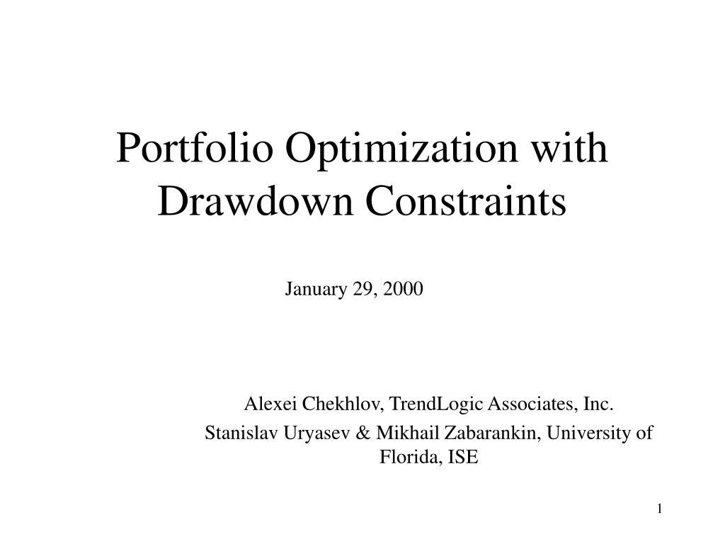 portfolio optimization with drawdown constraints l.