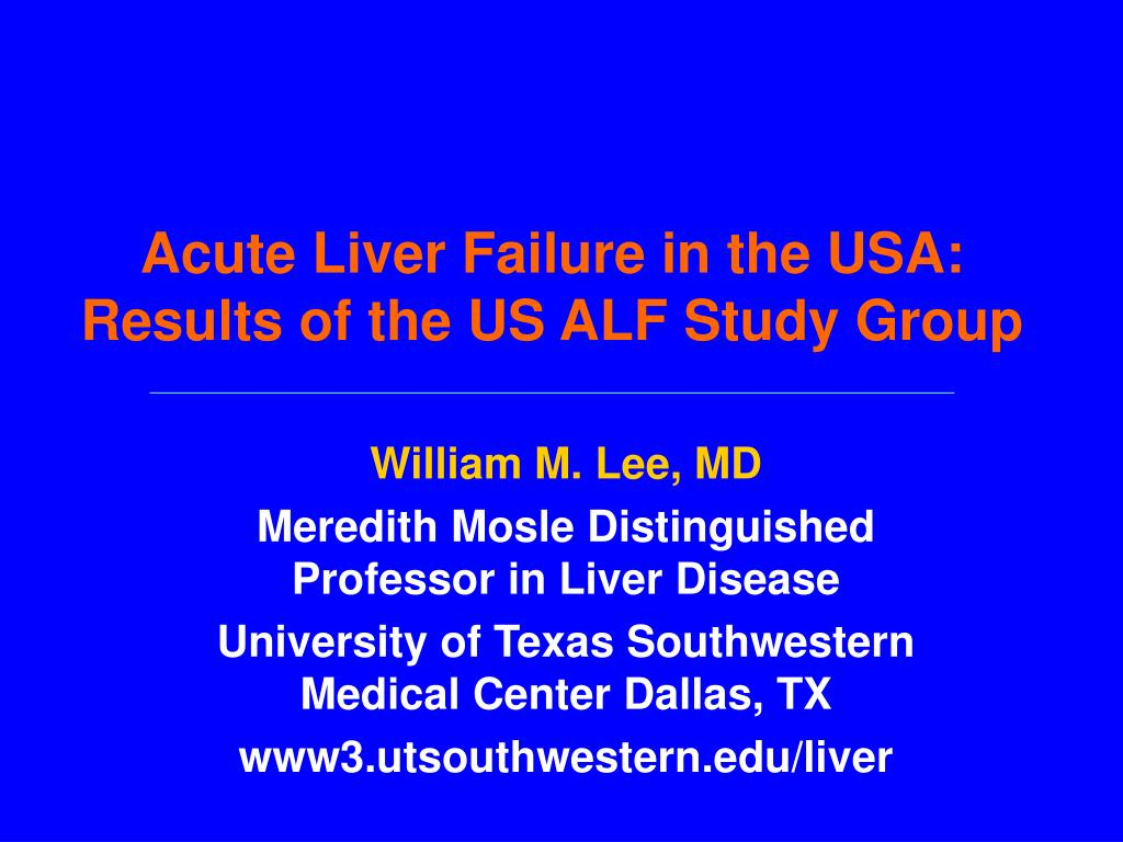 acute liver failure in the usa results of the us alf study group l.