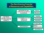 the rent earning potential of resources and capabilities
