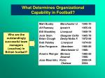 what determines organizational capability in football
