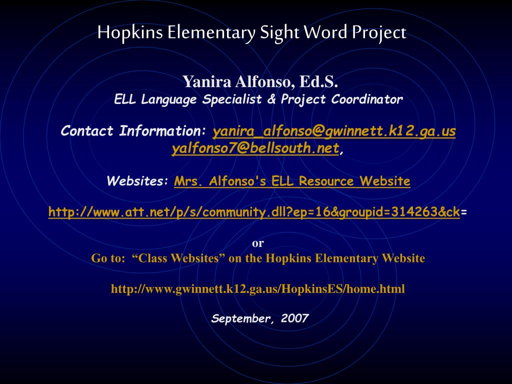 hopkins elementary sight word project l.