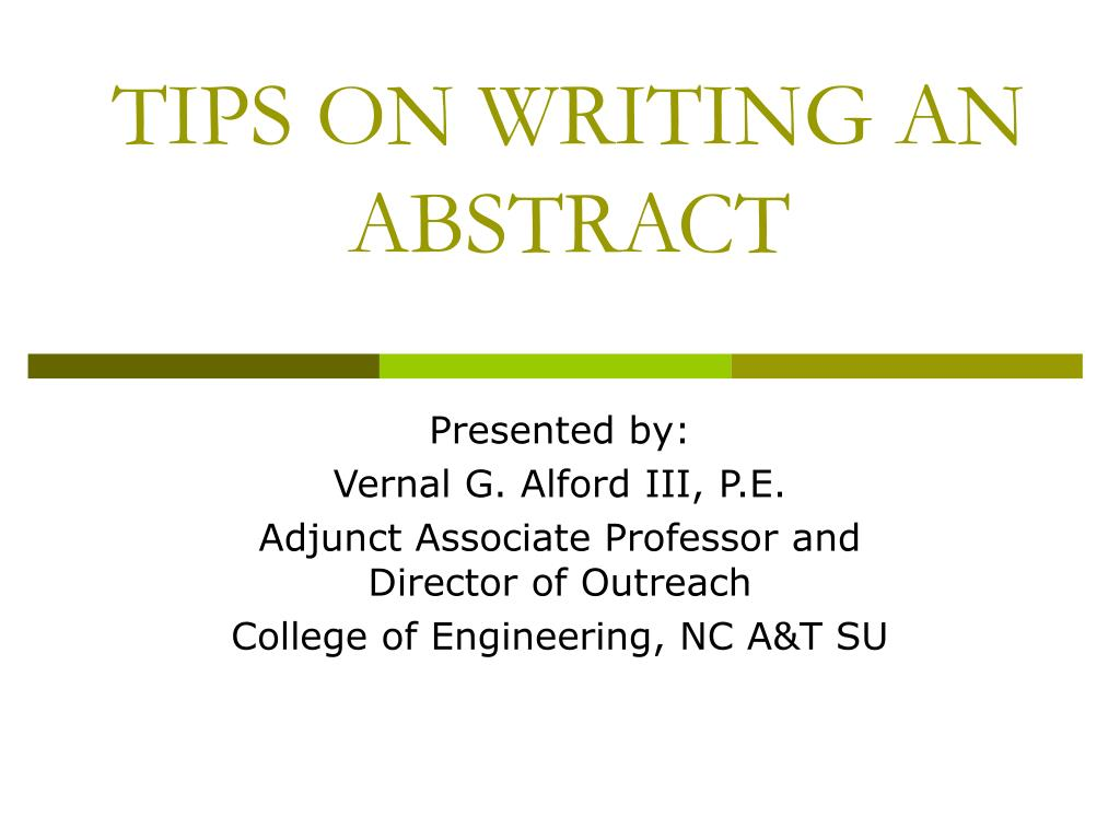 tips on writing an abstract l.