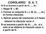 corolario d a t