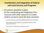 coordination and integration of federal and local services and programs