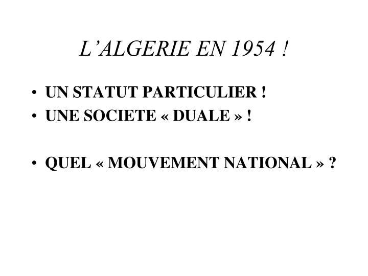 L algerie en 19542