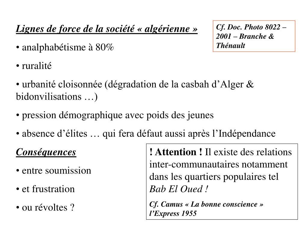 Lignes de force de la société «algérienne»