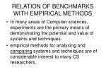 relation of benchmarks with empirical methods