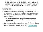 relation of benchmarks with empirical methods10