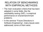 relation of benchmarks with empirical methods8