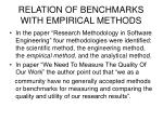 relation of benchmarks with empirical methods9