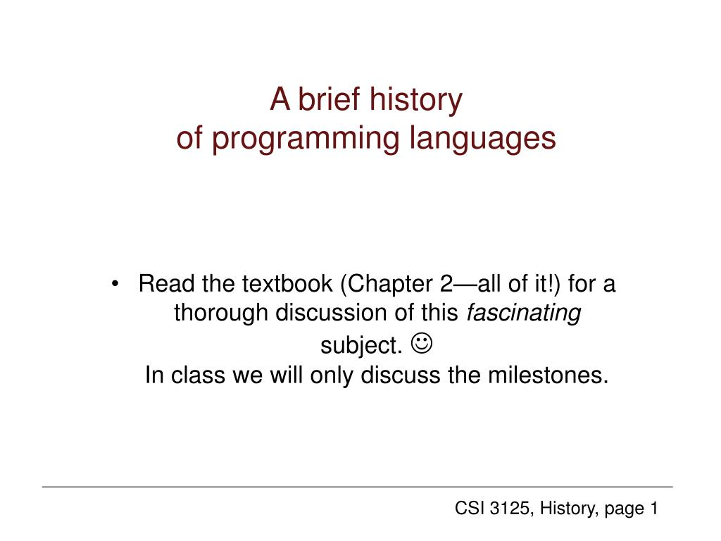 a brief history of programming languages l.