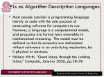 pls as algorithm description languages