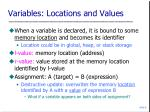 variables locations and values