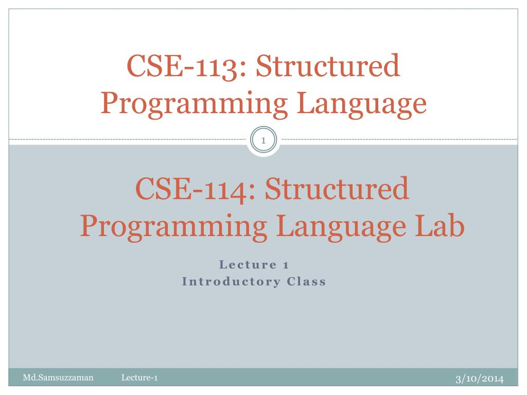 cse 113 structured programming language l.