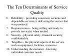 the ten determinants of service quality11