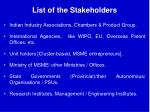 list of the stakeholders