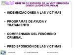 objeto de estudio de la victimolog a desde la pticva penal