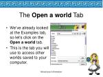 the open a world tab